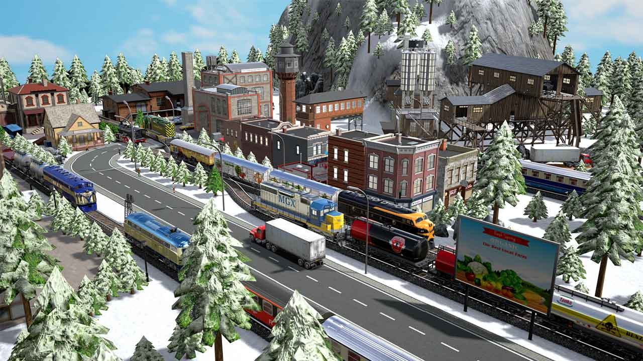 Winter scene with road, vehicles and train